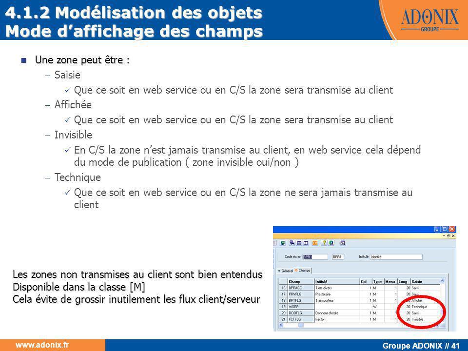 Groupe ADONIX // 41 www.adonix.fr 4.1.2 Modélisation des objets Mode d'affichage des champs  Une zone peut être :  Saisie  Que ce soit en web servi