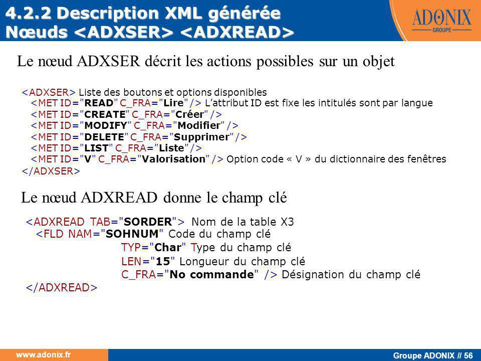 Groupe ADONIX // 56 www.adonix.fr 4.2.2 Description XML générée Nœuds Nœuds Le nœud ADXSER décrit les actions possibles sur un objet Liste des boutons