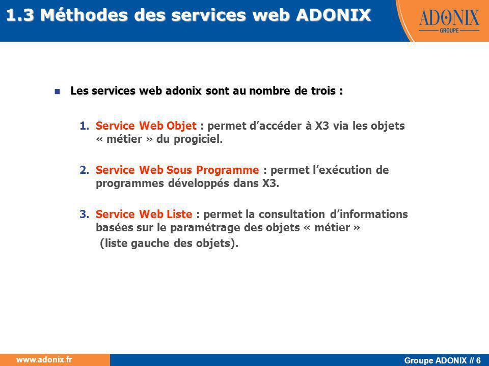Groupe ADONIX // 87 www.adonix.fr Les fichiers WSDL  Il existe un standard de description des web services, la description est stockée dans un fichier WSDL ( Web Service Description Langage )  Ce fichier donne des informations sur les méthodes proposées par le service web ainsi qu'une description des paramètres à passer pour les utiliser  Sur le serveur WEB vous trouverez 3 fichiers WSDL aux URL suivantes :  http://webserver/adxwsvc/services/CAdxSubProgramXml?wsdl http://webserver/adxwsvc/services/CAdxSubProgramXml?wsdl  http://webserver/adxwsvc/services/CAdxObjetctXml?wsdl http://webserver/adxwsvc/services/CAdxObjetctXml?wsdl  http://webserver/adxwsvc/services/CAdxObjectListXml?wsdl http://webserver/adxwsvc/services/CAdxObjectListXml?wsdl  Dans une application client java ces fichiers peuvent être directement utilisés pour générer le code java permettant l'appel aux web services respectifs 5.3 Application cliente en JAVA 5.3.1 Préparation de l'environnement