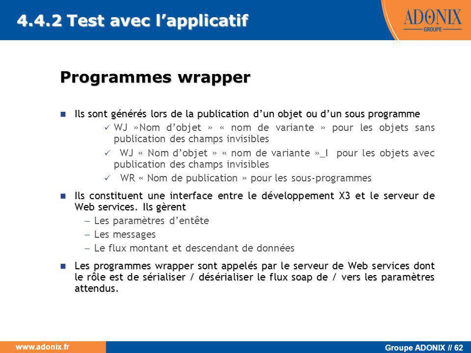 Groupe ADONIX // 62 www.adonix.fr 4.4.2 Test avec l'applicatif Programmes wrapper  Ils sont générés lors de la publication d'un objet ou d'un sous pr