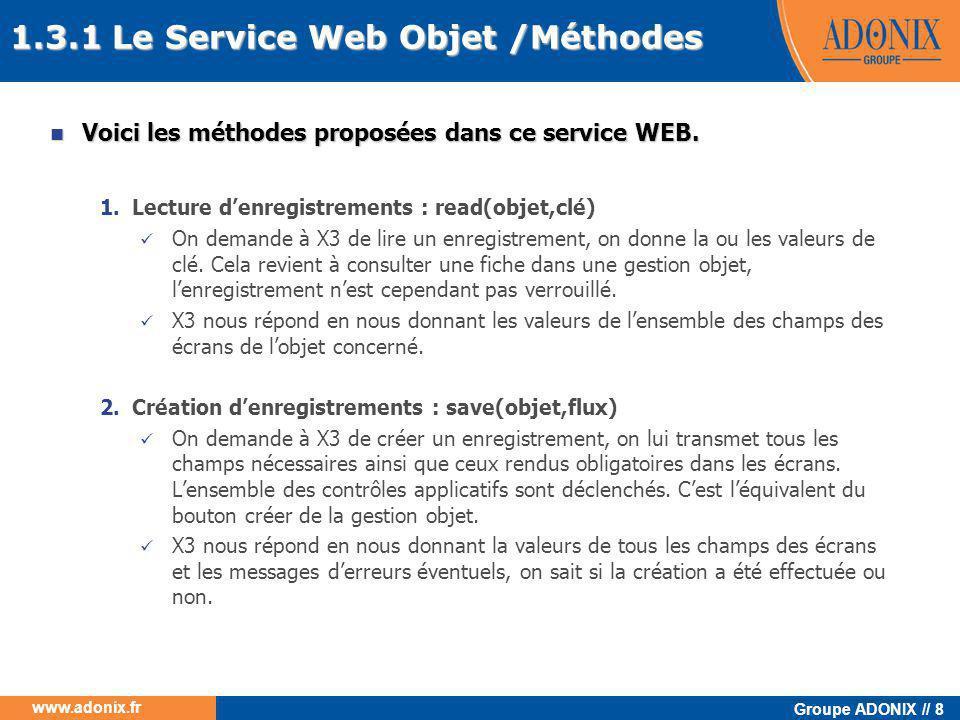 Groupe ADONIX // 8 www.adonix.fr 1.3.1 Le Service Web Objet /Méthodes  Voici les méthodes proposées dans ce service WEB. 1.Lecture d'enregistrements