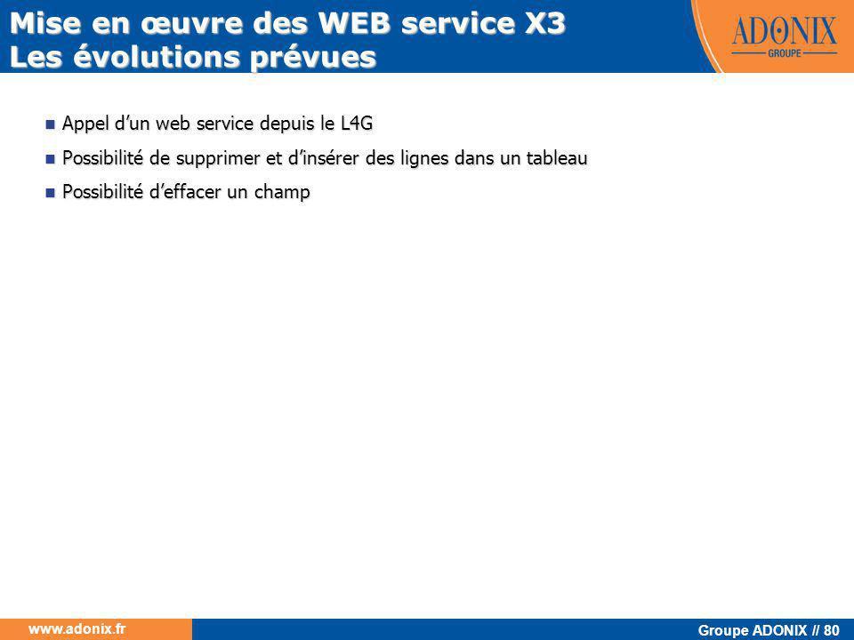 Groupe ADONIX // 80 www.adonix.fr Mise en œuvre des WEB service X3 Les évolutions prévues  Appel d'un web service depuis le L4G  Possibilité de supp