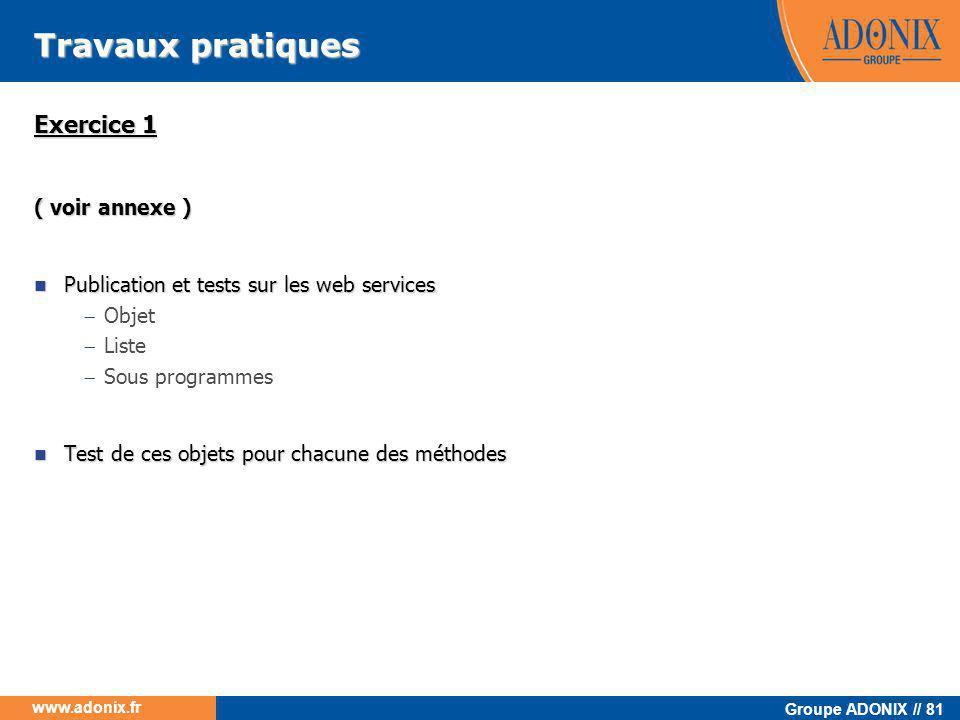 Groupe ADONIX // 81 www.adonix.fr Travaux pratiques Exercice 1 ( voir annexe )  Publication et tests sur les web services  Objet  Liste  Sous prog