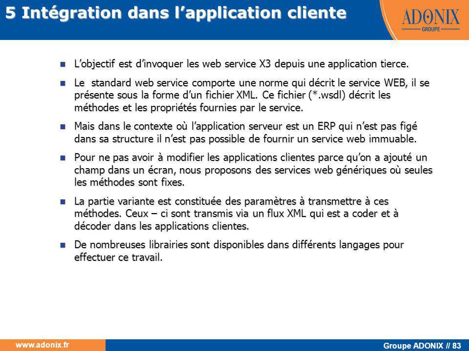 Groupe ADONIX // 83 www.adonix.fr  L'objectif est d'invoquer les web service X3 depuis une application tierce.  Le standard web service comporte une