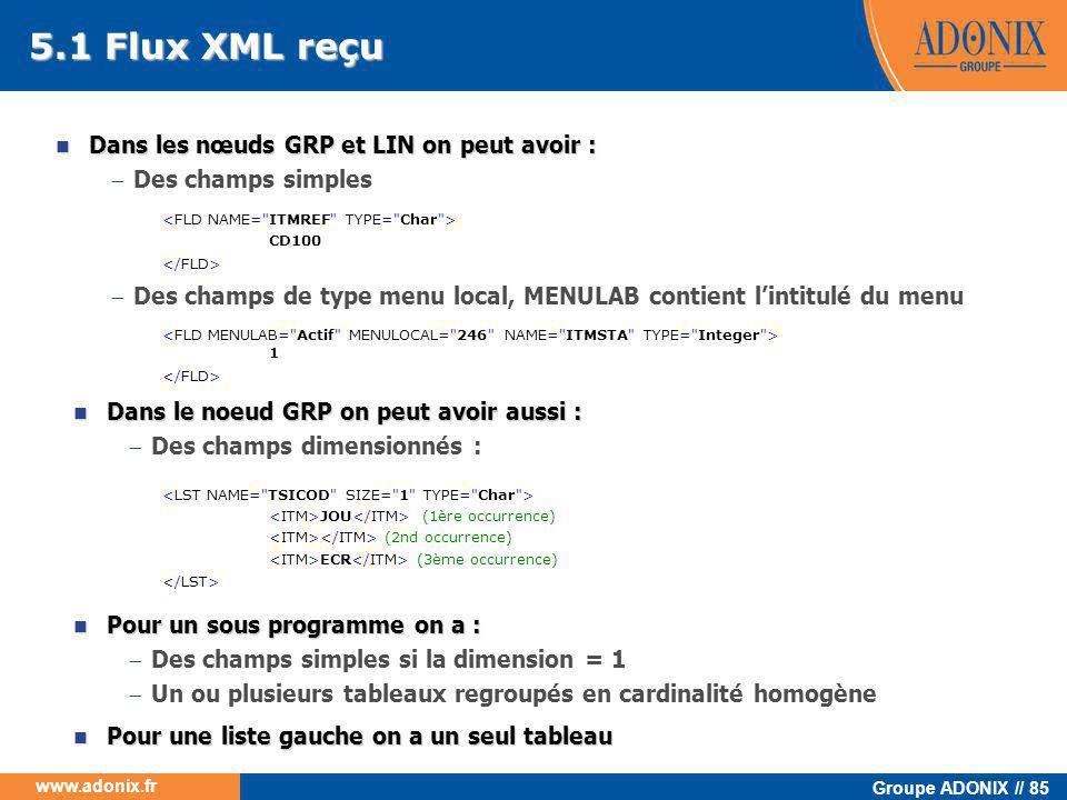 Groupe ADONIX // 85 www.adonix.fr 5.1 Flux XML reçu  Dans les nœuds GRP et LIN on peut avoir :  Des champs simples CD100  Des champs de type menu l