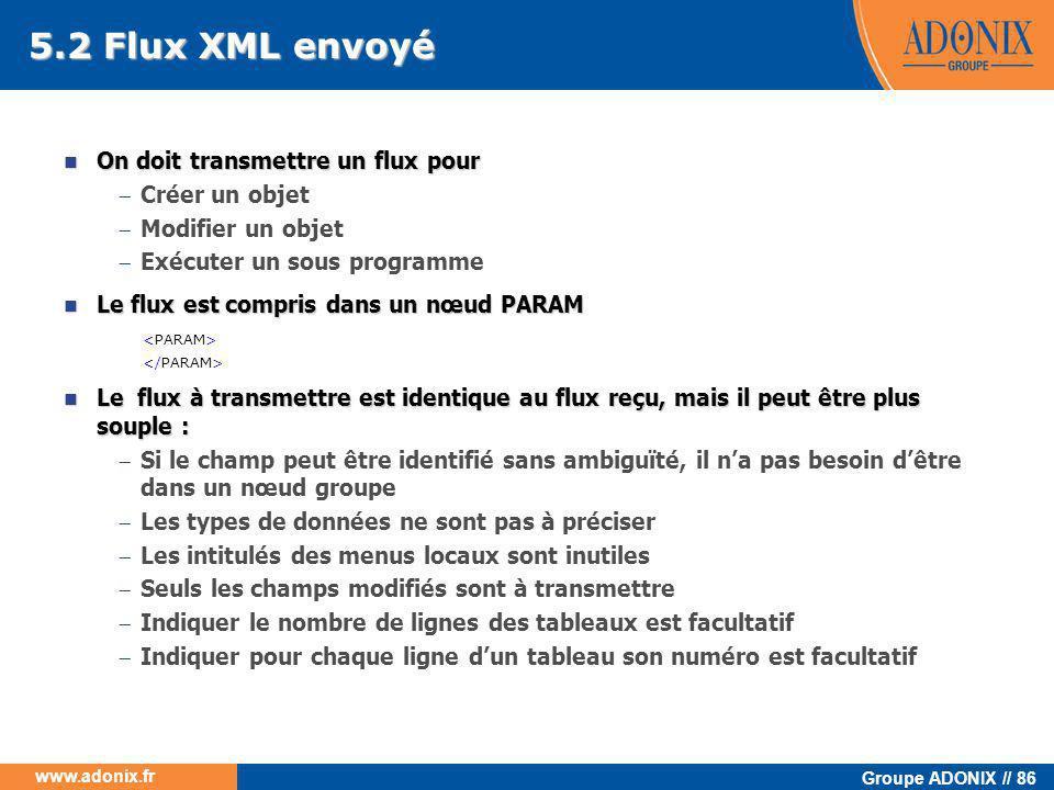 Groupe ADONIX // 86 www.adonix.fr 5.2 Flux XML envoyé  On doit transmettre un flux pour  Créer un objet  Modifier un objet  Exécuter un sous progr