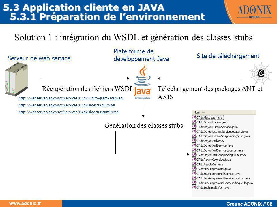 Groupe ADONIX // 88 www.adonix.fr Serveur de web service Plate forme de développement Java Récupération des fichiers WSDL Génération des classes stubs