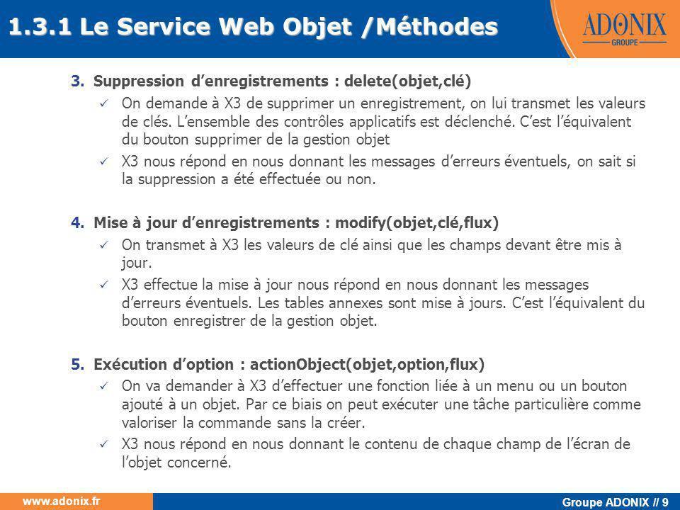 Groupe ADONIX // 70 www.adonix.fr 4.4.3 Test avec le serveur WEB Choix du web service Choix de l'objet Choix des clés Choix de la méthode invoquée Information sur l'exécution de la méthode Réponse XML du serveur web Trace de l'exécution de la méthode invoquée Données XML transmises au serveur