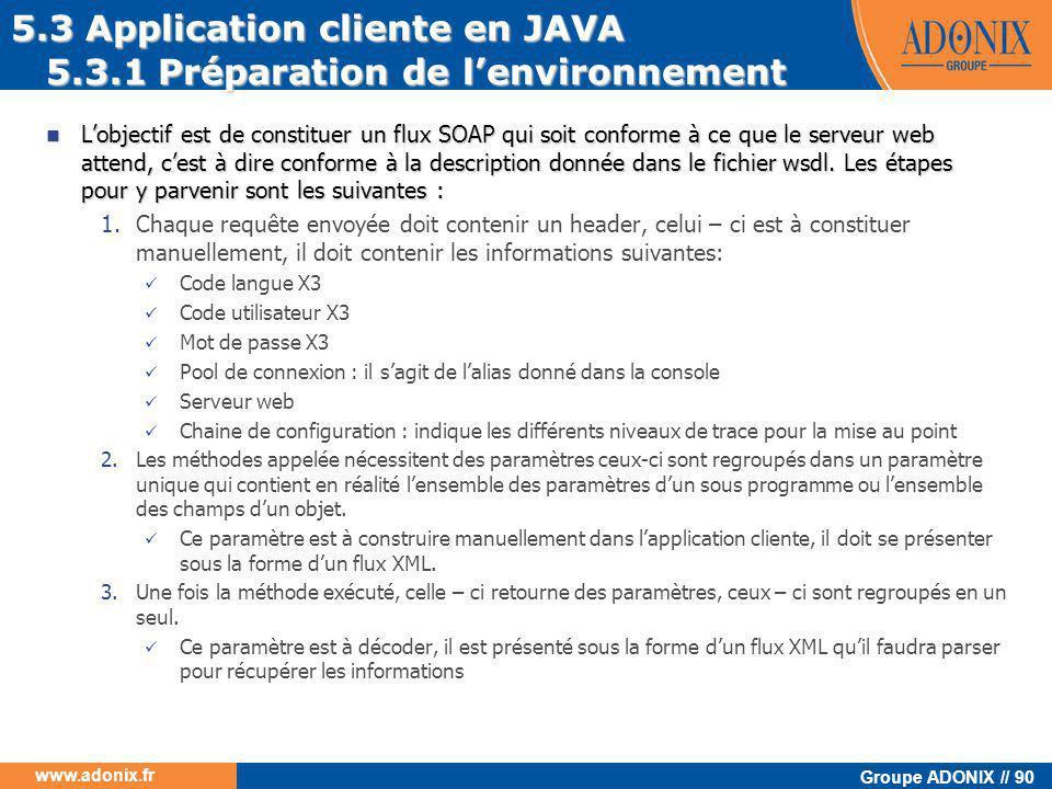 Groupe ADONIX // 90 www.adonix.fr  L'objectif est de constituer un flux SOAP qui soit conforme à ce que le serveur web attend, c'est à dire conforme
