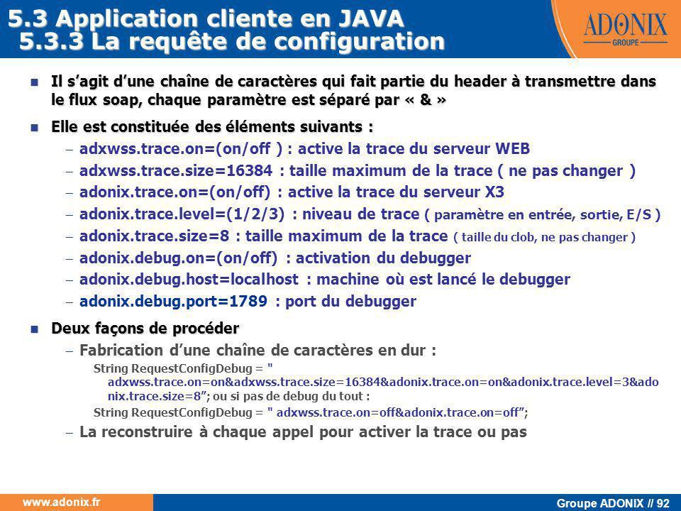 Groupe ADONIX // 92 www.adonix.fr 5.3.3 La requête de configuration  Il s'agit d'une chaîne de caractères qui fait partie du header à transmettre dan