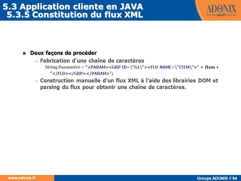 Groupe ADONIX // 94 www.adonix.fr  Deux façons de procéder  Fabrication d'une chaîne de caractères String Parametre =
