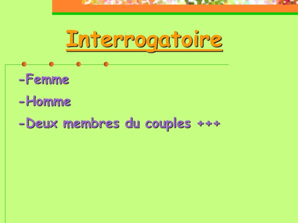Interrogatoire -Femme-Homme -Deux membres du couples +++