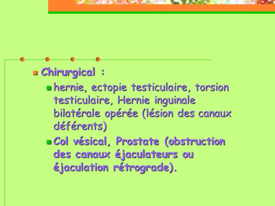 Chirurgical :  hernie, ectopie testiculaire, torsion testiculaire, Hernie inguinale bilatérale opérée (lésion des canaux déférents)   Col vésical, Prostate (obstruction des canaux éjaculateurs ou éjaculation rétrograde).