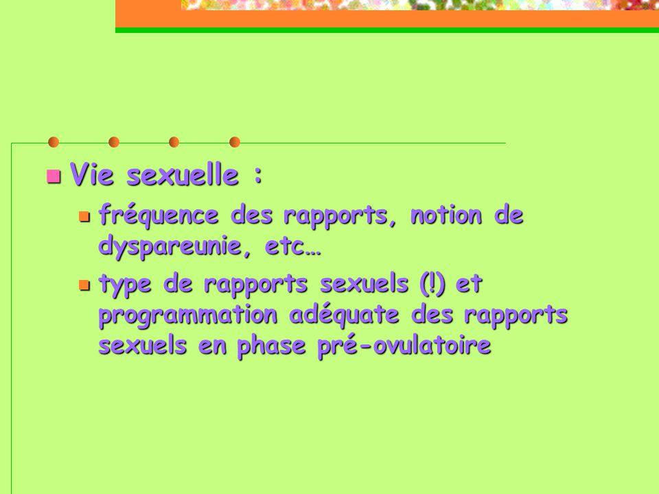  Vie sexuelle :  fréquence des rapports, notion de dyspareunie, etc…  type de rapports sexuels (!) et programmation adéquate des rapports sexuels en phase pré-ovulatoire