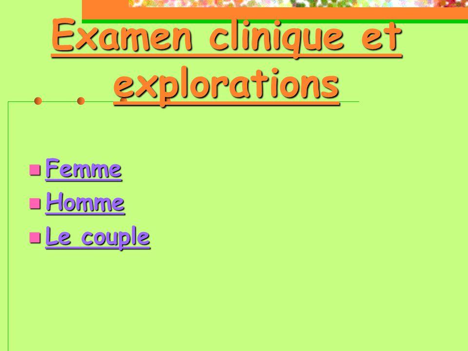 Examen clinique et explorations  Femme  Homme  Le couple