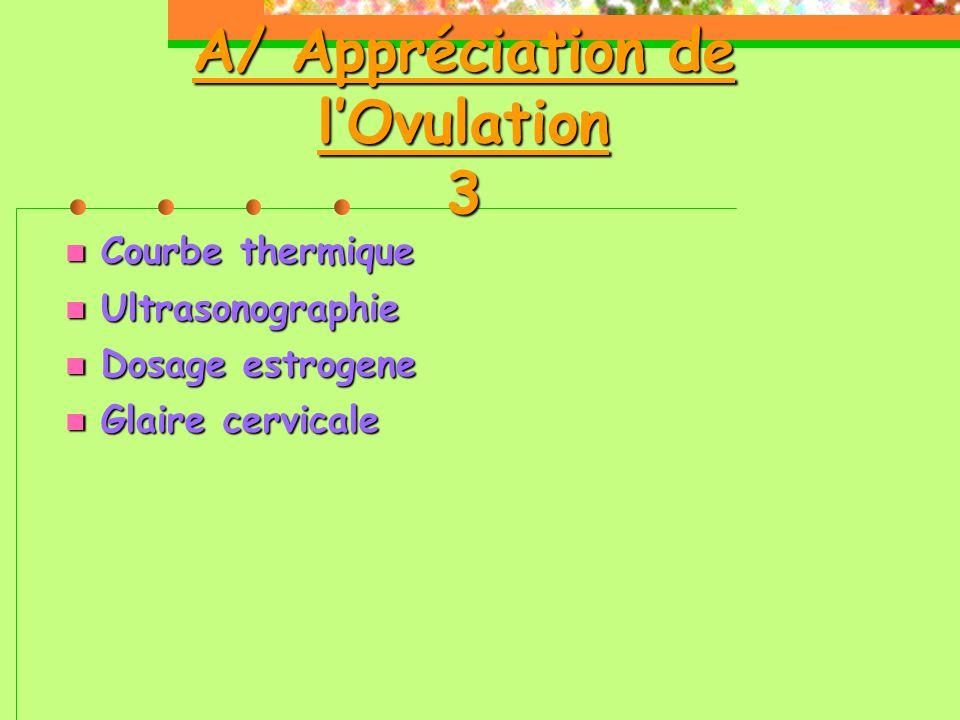 A/ Appréciation de l'Ovulation 3  Courbe thermique  Ultrasonographie  Dosage estrogene  Glaire cervicale