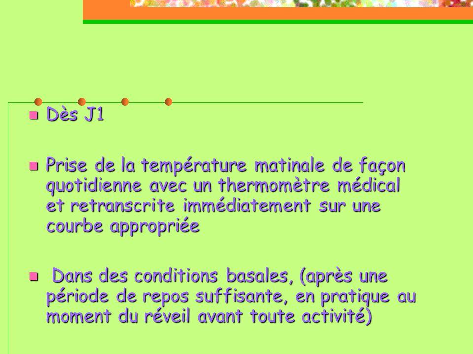  Dès J1  Prise de la température matinale de façon quotidienne avec un thermomètre médical et retranscrite immédiatement sur une courbe appropriée  Dans des conditions basales, (après une période de repos suffisante, en pratique au moment du réveil avant toute activité) 