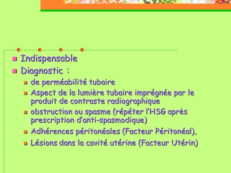  Indispensable  Diagnostic :  de perméabilité tubaire  Aspect de la lumière tubaire imprégnée par le produit de contraste radiographique  obstruction ou spasme (répéter l'HSG après prescription d'anti-spasmodique)   Adhérences péritonéales (Facteur Péritonéal),  Lésions dans la cavité utérine (Facteur Utérin) 