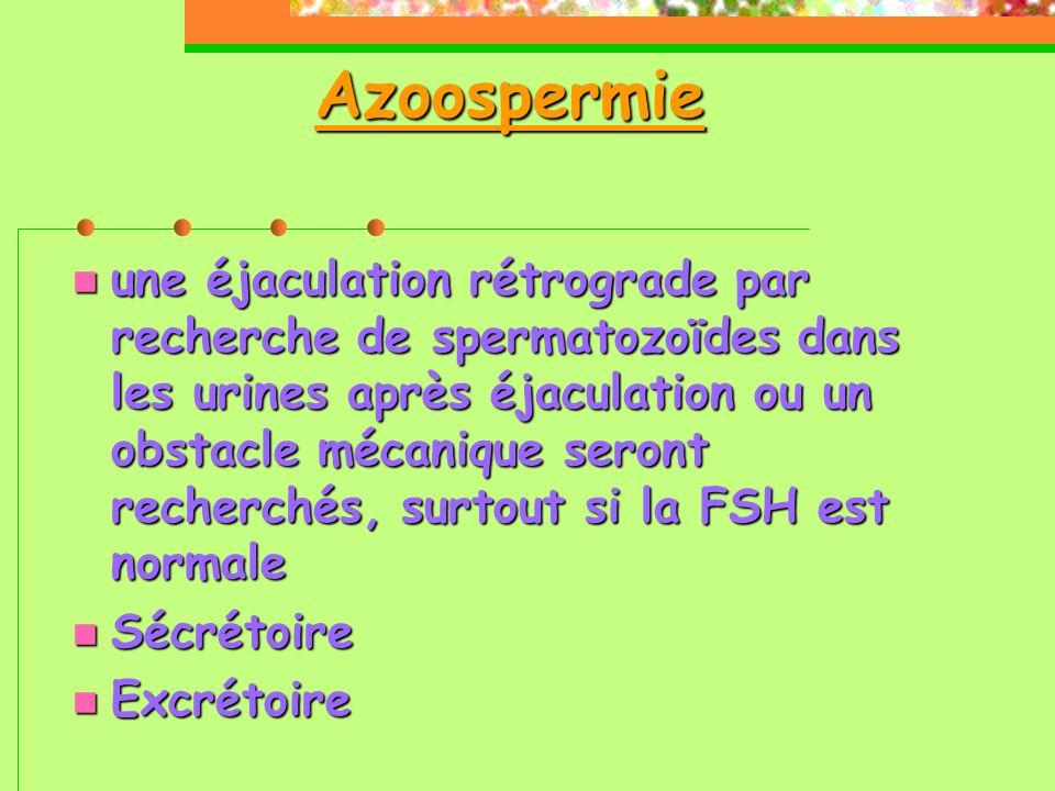Azoospermie  une éjaculation rétrograde par recherche de spermatozoïdes dans les urines après éjaculation ou un obstacle mécanique seront recherchés, surtout si la FSH est normale  Sécrétoire  Excrétoire