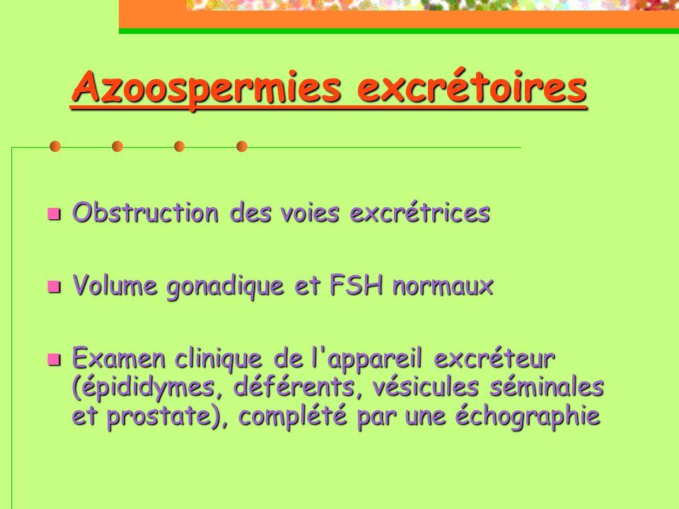 Azoospermies excrétoires  Obstruction des voies excrétrices  Volume gonadique et FSH normaux  Examen clinique de l appareil excréteur (épididymes, déférents, vésicules séminales et prostate), complété par une échographie