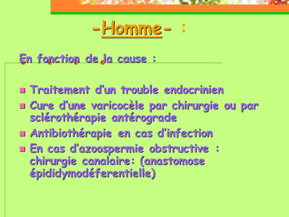-Homme- -Homme- : En fonction de la cause :  Traitement d'un trouble endocrinien  Cure d'une varicocèle par chirurgie ou par sclérothérapie antérograde  Antibiothérapie en cas d'infection  En cas d'azoospermie obstructive : chirurgie canalaire: (anastomose épididymodéferentielle) 