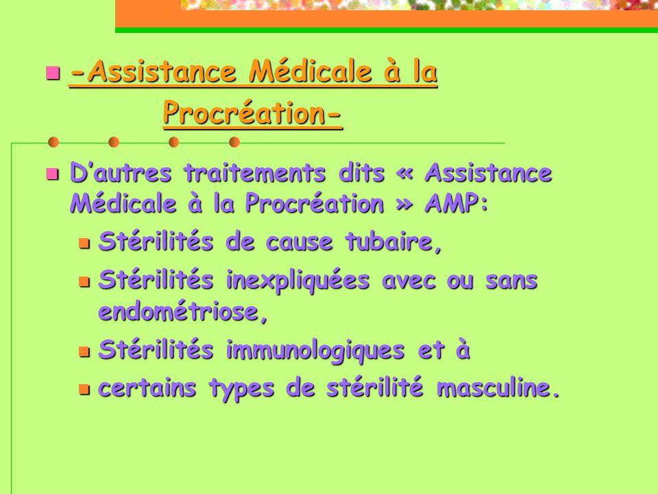  -Assistance Médicale à la Procréation-  D'autres traitements dits « Assistance Médicale à la Procréation » AMP:  Stérilités de cause tubaire,  Stérilités inexpliquées avec ou sans endométriose,  Stérilités immunologiques et à  certains types de stérilité masculine.