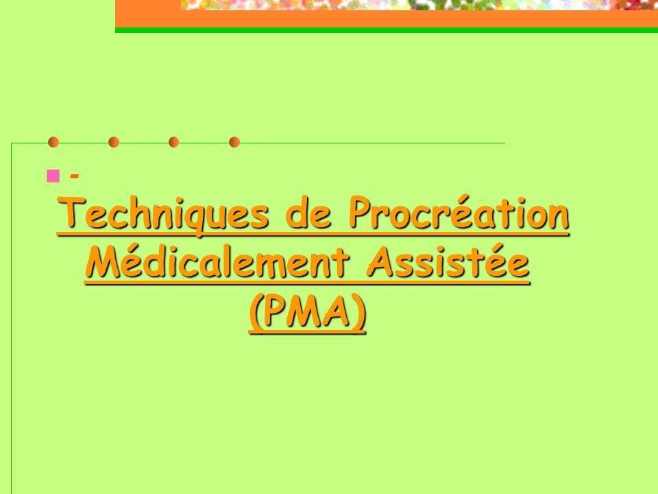 Techniques de Procréation Médicalement Assistée (PMA) --