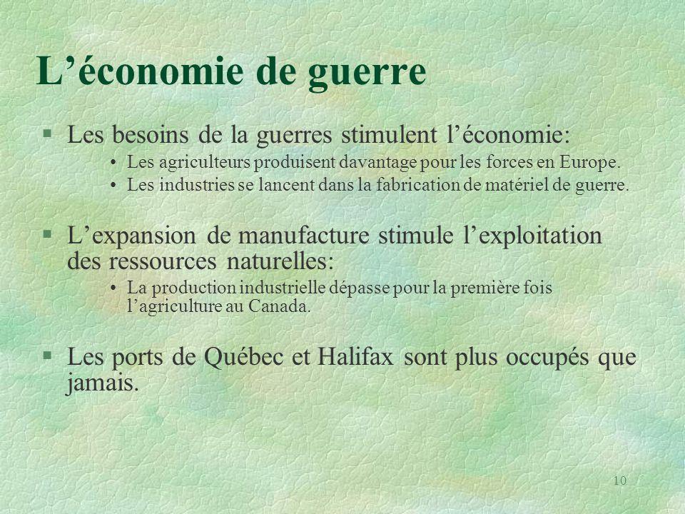 L'économie de guerre §Les besoins de la guerres stimulent l'économie: •Les agriculteurs produisent davantage pour les forces en Europe. •Les industrie