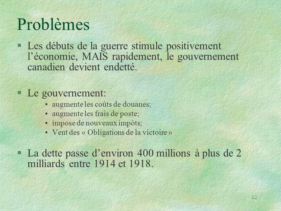 Problèmes §Les débuts de la guerre stimule positivement l'économie, MAIS rapidement, le gouvernement canadien devient endetté. §Le gouvernement: •augm