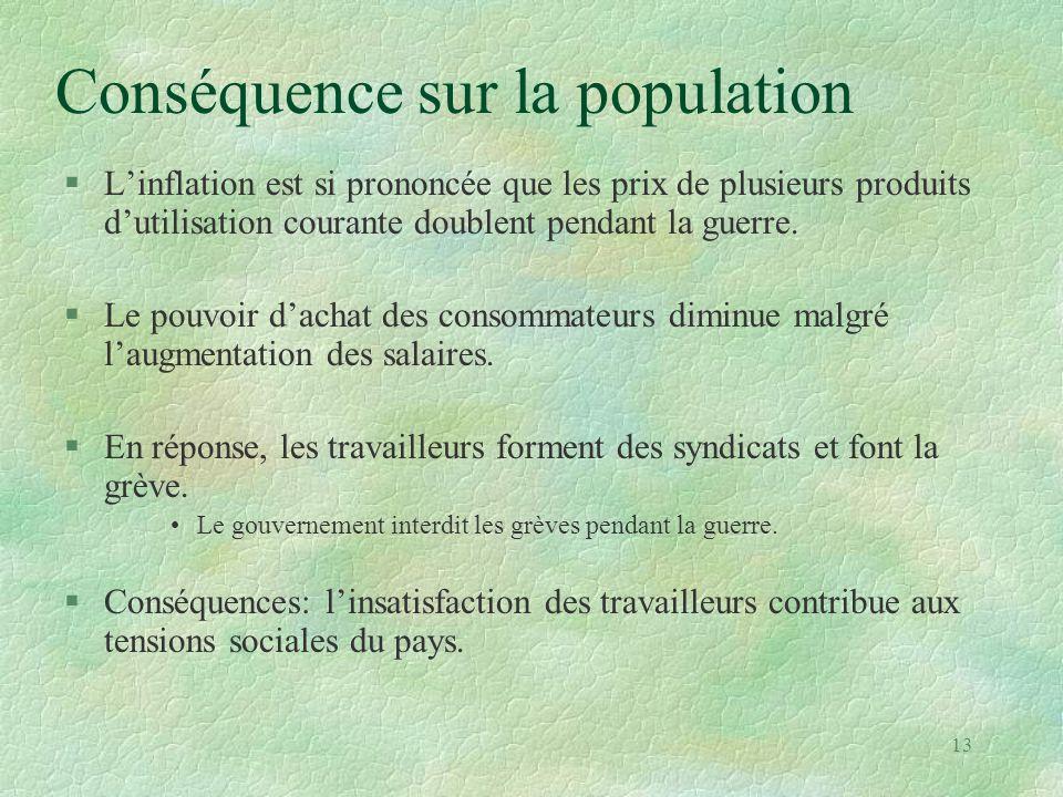Conséquence sur la population §L'inflation est si prononcée que les prix de plusieurs produits d'utilisation courante doublent pendant la guerre. §Le