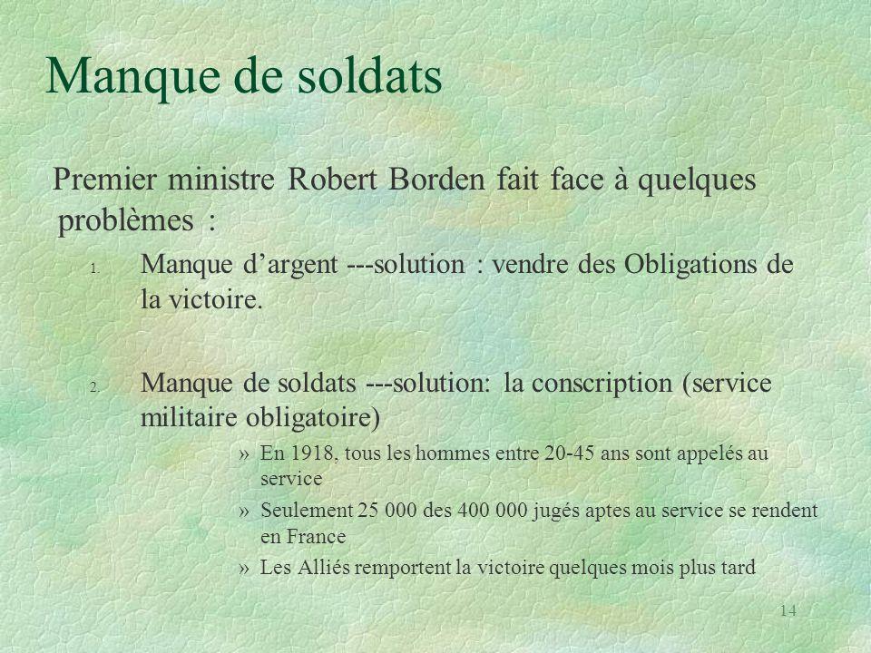 Manque de soldats Premier ministre Robert Borden fait face à quelques problèmes : 1. Manque d'argent ---solution : vendre des Obligations de la victoi