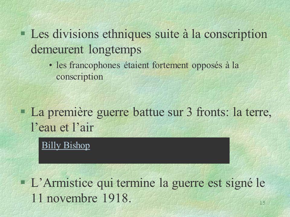 §Les divisions ethniques suite à la conscription demeurent longtemps •les francophones étaient fortement opposés à la conscription §La première guerre