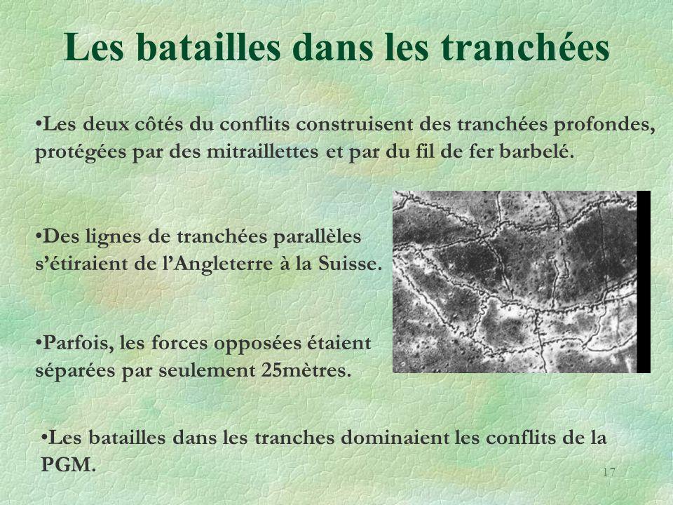 Les batailles dans les tranchées •Les deux côtés du conflits construisent des tranchées profondes, protégées par des mitraillettes et par du fil de fe