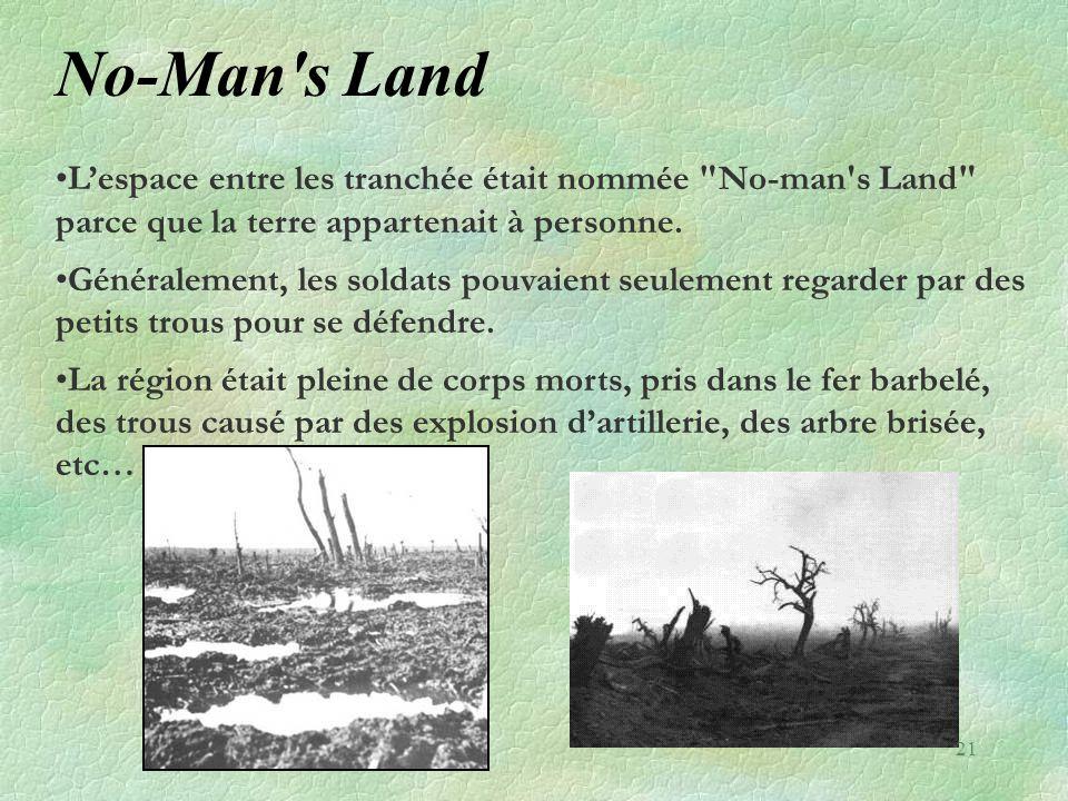 No-Man's Land •L'espace entre les tranchée était nommée