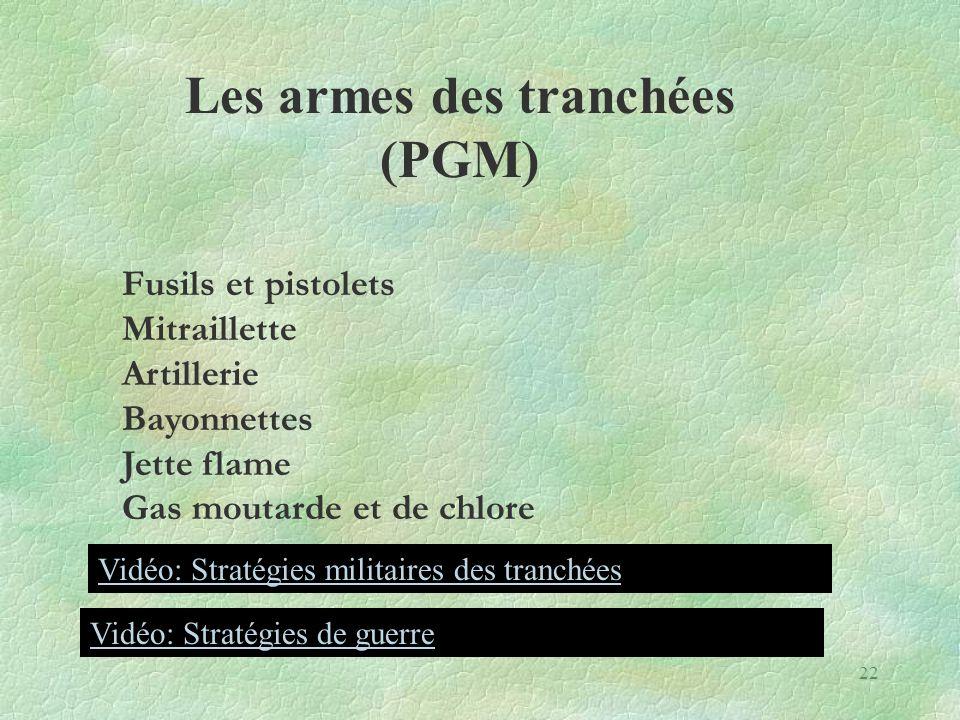 Fusils et pistolets Mitraillette Artillerie Bayonnettes Jette flame Gas moutarde et de chlore Les armes des tranchées (PGM) Vidéo: Stratégies militair