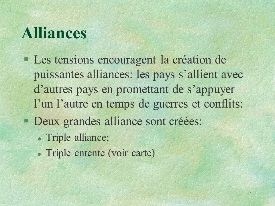 Alliances §Les tensions encouragent la création de puissantes alliances: les pays s'allient avec d'autres pays en promettant de s'appuyer l'un l'autre