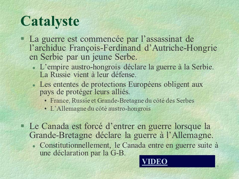 Catalyste §La guerre est commencée par l'assassinat de l'archiduc François-Ferdinand d'Autriche-Hongrie en Serbie par un jeune Serbe. l L'empire austr