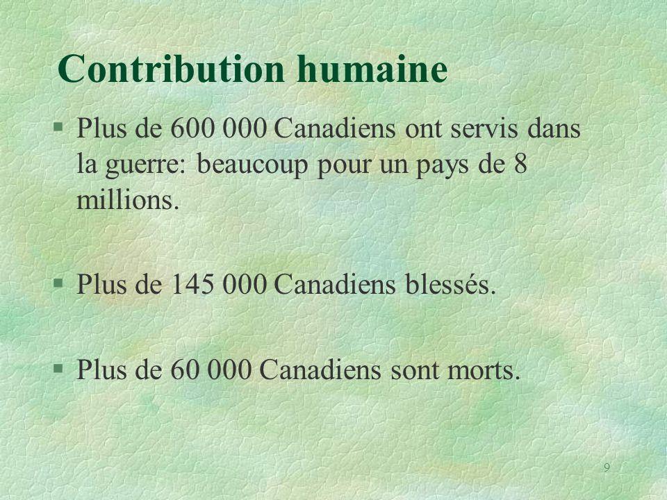 Contribution humaine §Plus de 600 000 Canadiens ont servis dans la guerre: beaucoup pour un pays de 8 millions. §Plus de 145 000 Canadiens blessés. §P