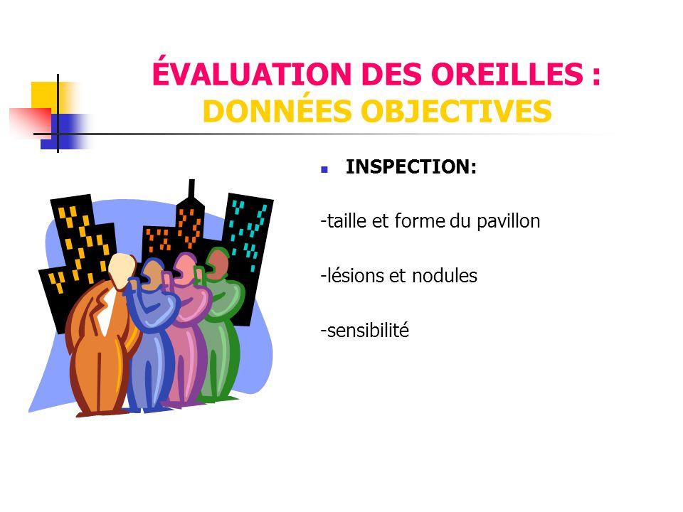 ÉVALUATION DES OREILLES : DONNÉES OBJECTIVES  INSPECTION: -taille et forme du pavillon -lésions et nodules -sensibilité