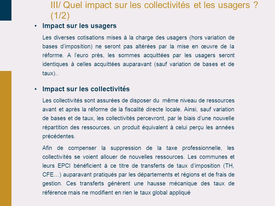 III/ Quel impact sur les collectivités et les usagers .