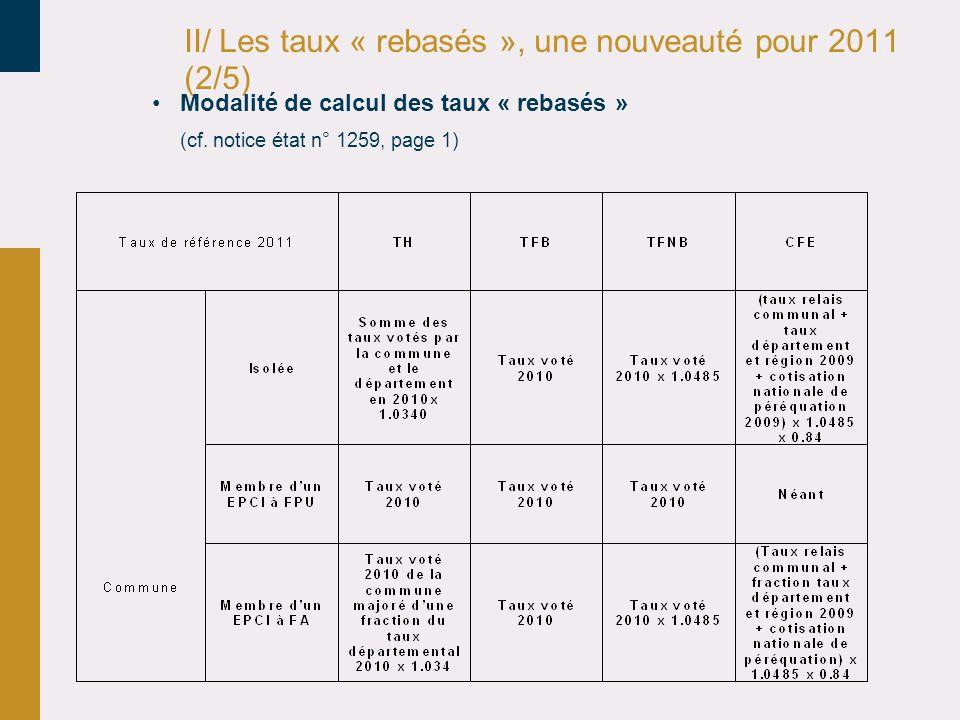 II/ Les taux « rebasés », une nouveauté pour 2011 (2/5) •Modalité de calcul des taux « rebasés » (cf.