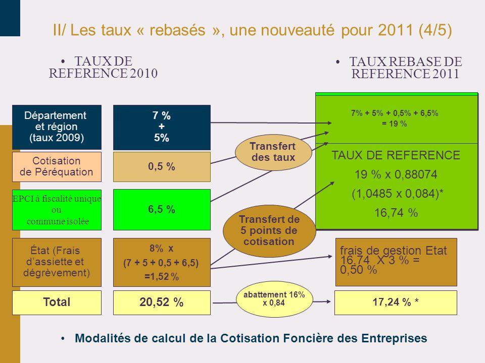 II/ Les taux « rebasés », une nouveauté pour 2011 (4/5) •Modalités de calcul de la Cotisation Foncière des Entreprises Cotisation de Péréquation Département et région (taux 2009) EPCI à fiscalité unique ou commune isolée État (Frais d'assiette et dégrèvement) frais de gestion Etat 16,74 X 3 % = 0,50 % Total20,52 % 17,24 % * 7% + 5% + 0,5% + 6,5% = 19 % TAUX DE REFERENCE 19 % x 0,88074 (1,0485 x 0,084)* 16,74 % Transfert de 5 points de cotisation Transfert des taux abattement 16% x 0,84 6,5 % 8% x (7 + 5 + 0,5 + 6,5) =1,52 % 0,5 % 7 % + 5% •TAUX REBASE DE REFERENCE 2011 •TAUX DE REFERENCE 2010