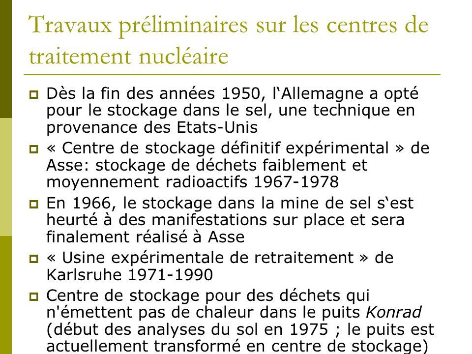 Travaux préliminaires sur les centres de traitement nucléaire  Dès la fin des années 1950, l'Allemagne a opté pour le stockage dans le sel, une technique en provenance des Etats-Unis  « Centre de stockage définitif expérimental » de Asse: stockage de déchets faiblement et moyennement radioactifs 1967-1978  En 1966, le stockage dans la mine de sel s'est heurté à des manifestations sur place et sera finalement réalisé à Asse  « Usine expérimentale de retraitement » de Karlsruhe 1971-1990  Centre de stockage pour des déchets qui n émettent pas de chaleur dans le puits Konrad (début des analyses du sol en 1975 ; le puits est actuellement transformé en centre de stockage)