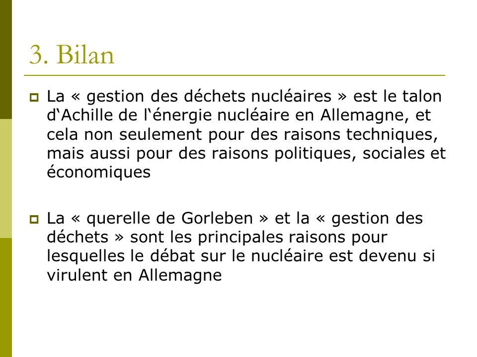 3. Bilan  La « gestion des déchets nucléaires » est le talon d'Achille de l'énergie nucléaire en Allemagne, et cela non seulement pour des raisons te