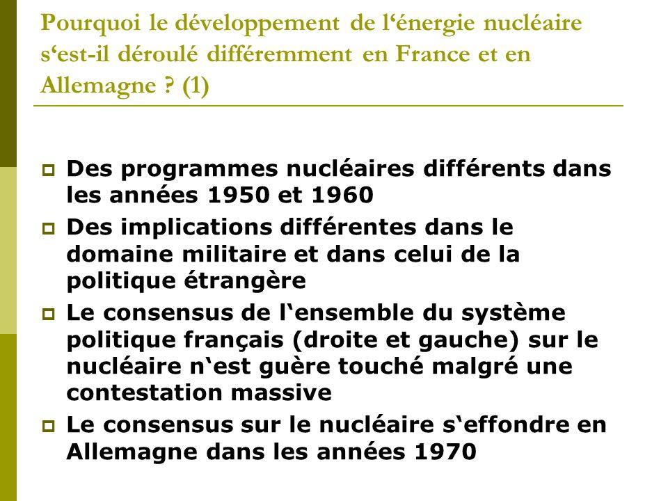 Pourquoi le développement de l'énergie nucléaire s'est-il déroulé différemment en France et en Allemagne .