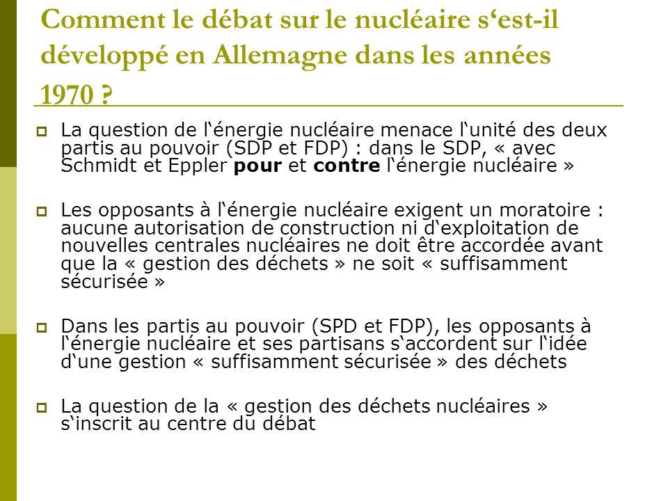 Comment le débat sur le nucléaire s'est-il développé en Allemagne dans les années 1970 ?  La question de l'énergie nucléaire menace l'unité des deux