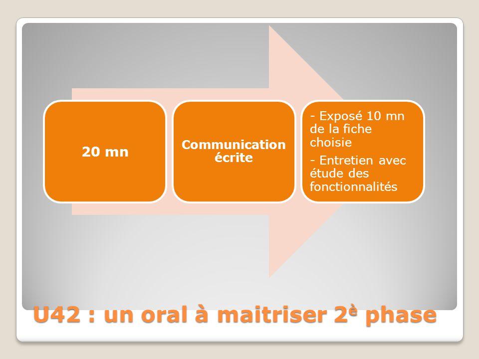 U42 : un oral à maitriser 2 è phase 20 mn Communication écrite - Exposé 10 mn de la fiche choisie - Entretien avec étude des fonctionnalités