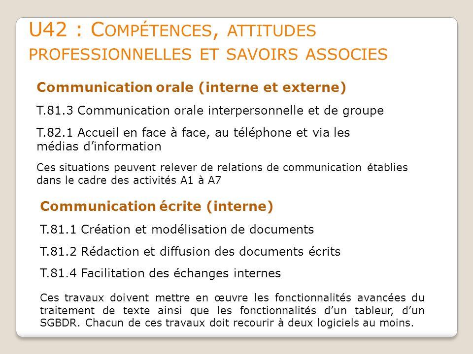 U42 : C OMPÉTENCES, ATTITUDES PROFESSIONNELLES ET SAVOIRS ASSOCIES Communication orale (interne et externe) T.81.3 Communication orale interpersonnell