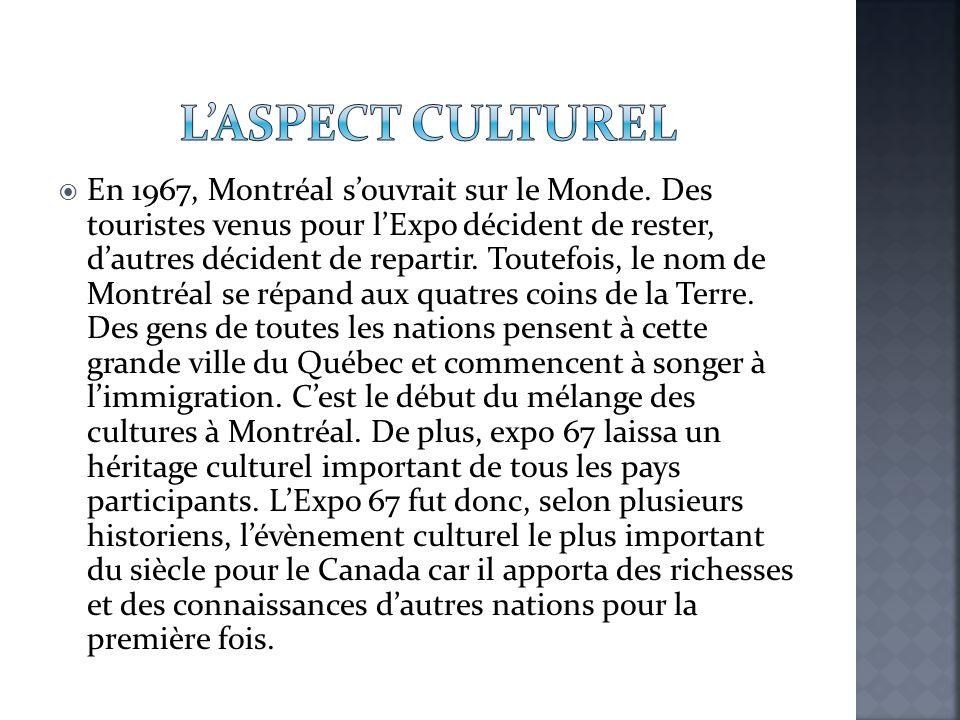  En 1967, Montréal s'ouvrait sur le Monde. Des touristes venus pour l'Expo décident de rester, d'autres décident de repartir. Toutefois, le nom de Mo