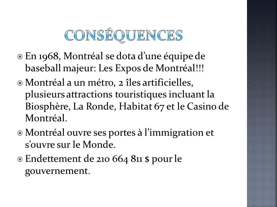  En 1968, Montréal se dota d'une équipe de baseball majeur: Les Expos de Montréal!!!  Montréal a un métro, 2 îles artificielles, plusieurs attractio